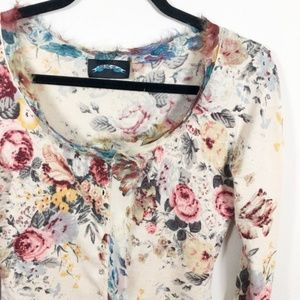 Till The End Cashmere Silk Floral Cardigan L